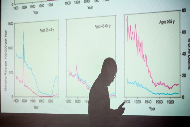 Silhouette of Pat Remington teaching a course, graphs in the background